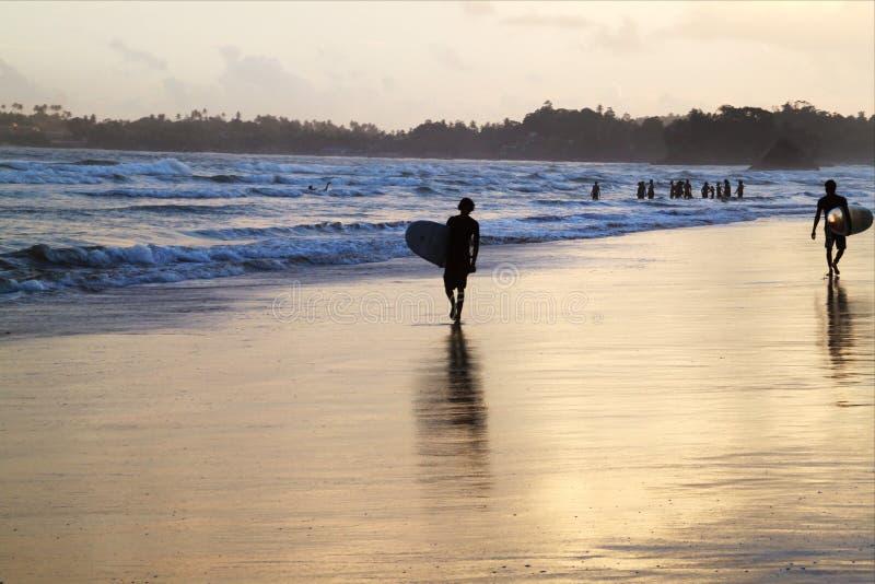 Silhuetas da ressaca nas praias de Sri Lanka imagem de stock