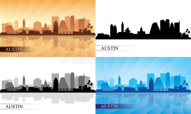 Silhuetas da skyline da cidade de Austin ajustadas ilustração stock