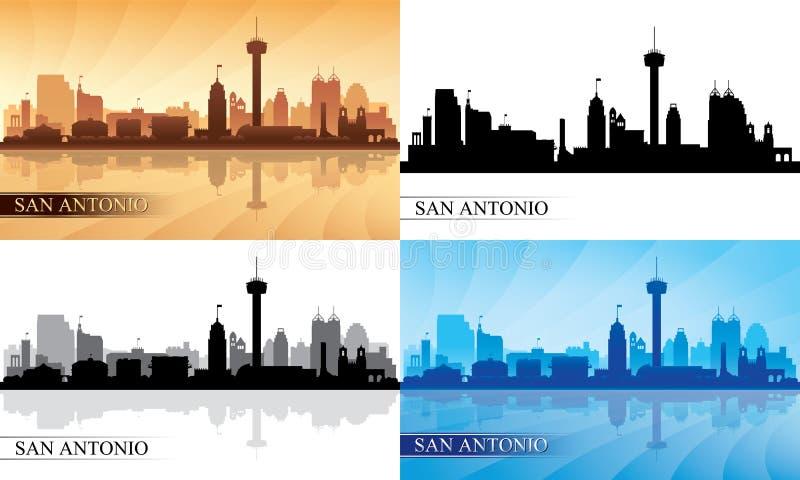 Silhuetas da skyline da cidade de San Antonio ajustadas ilustração do vetor