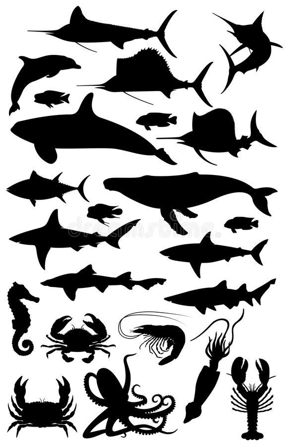 Silhuetas da vida marinha ilustração royalty free