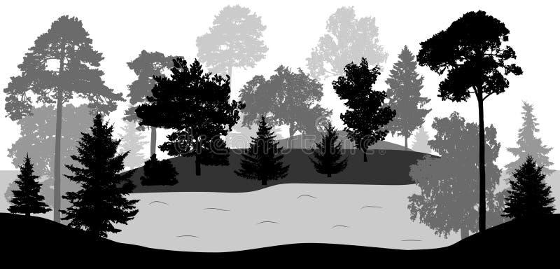 Silhuetas das árvores e do rio do lago, vetor ilustração do vetor
