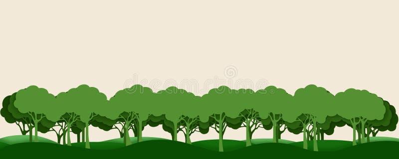 Silhuetas das árvores em um fundo pastel Paisagem da floresta Efeito de papel ilustração stock