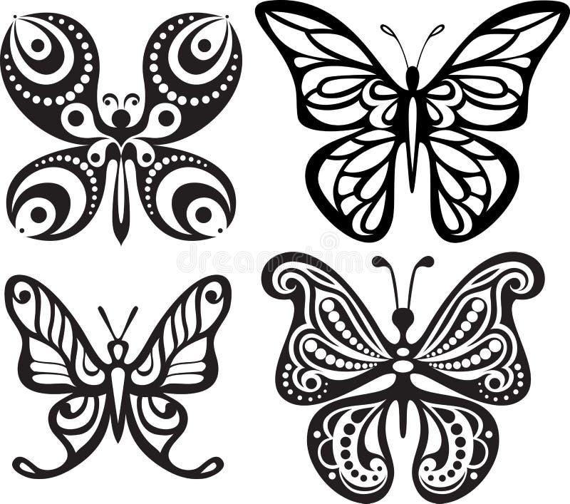 Silhuetas das borboletas com o tracery aberto das asas Desenho preto e branco Jantando a decoração ilustração royalty free
