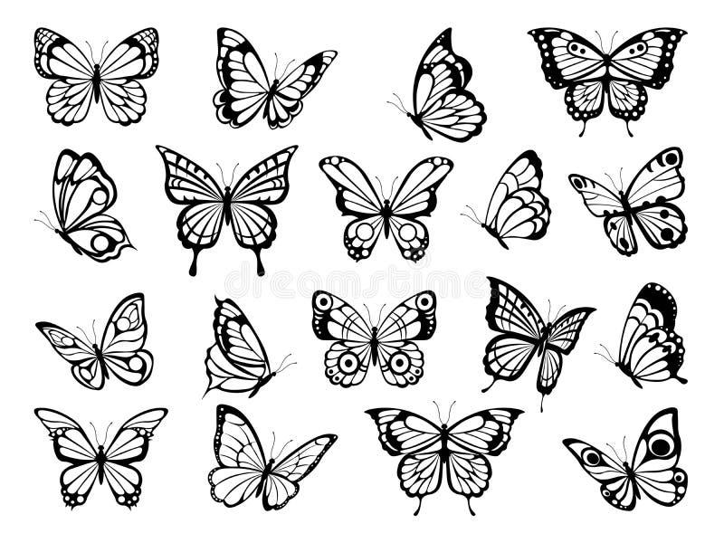 Silhuetas das borboletas Imagens pretas de borboletas engraçadas ilustração stock