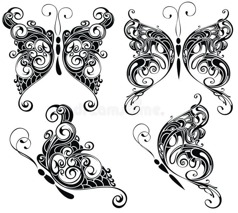 Silhuetas das borboletas no estilo da tatuagem ilustração stock