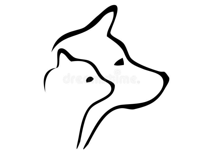 Silhuetas das cabeças do cão e do gato