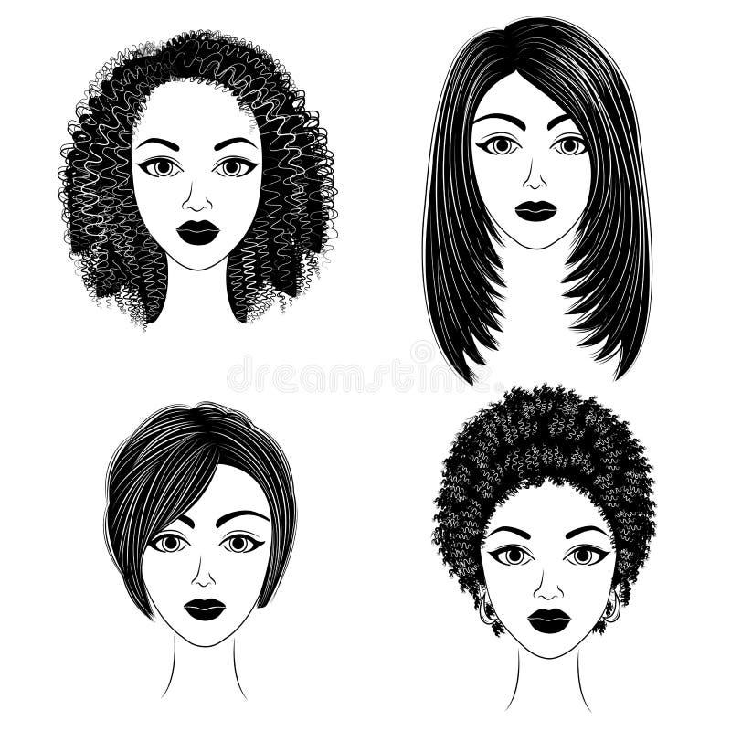 Silhuetas das cabeças das senhoras bonitas cole??o As meninas mostram os penteados para o cabelo médio e curto As mulheres são bo ilustração do vetor