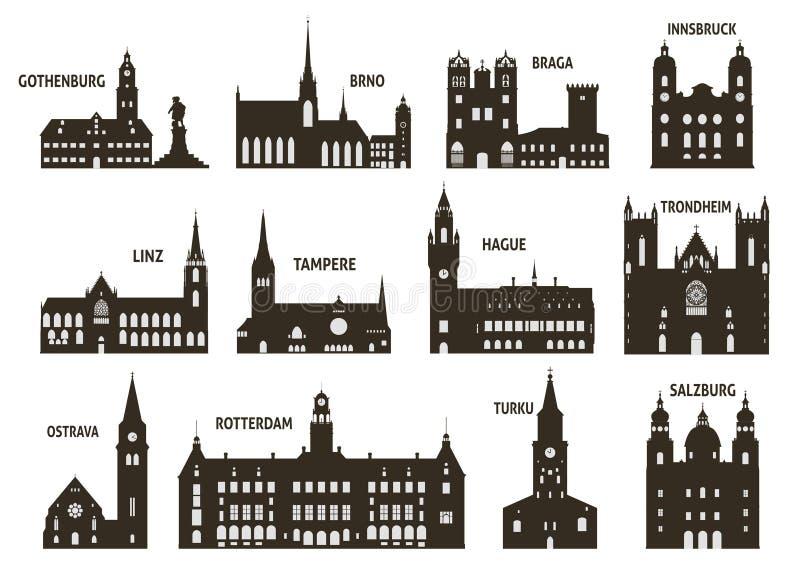 Silhuetas das cidades ilustração stock