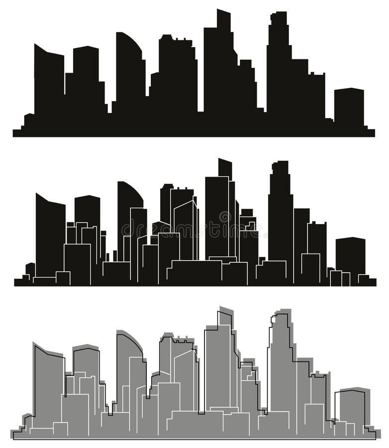 Silhuetas das cidades do vetor ilustração stock