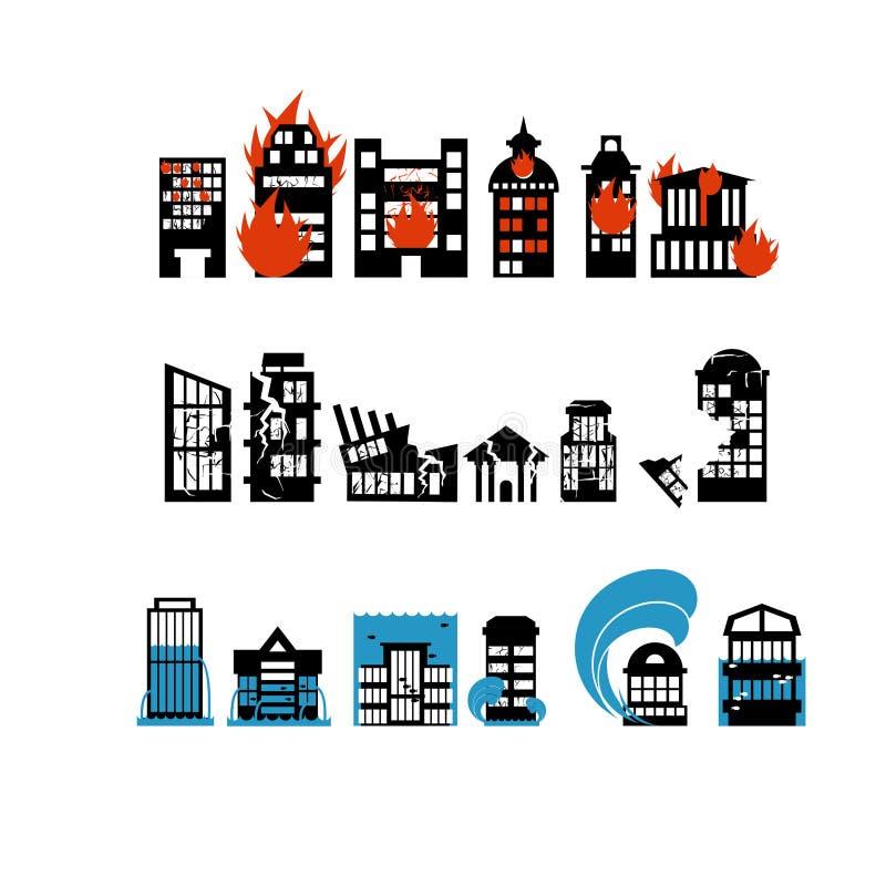 Silhuetas das construções das catástrofes naturais Destruição de ilustração royalty free