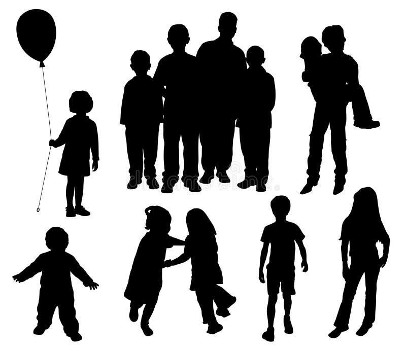 Silhuetas das crianças ilustração stock