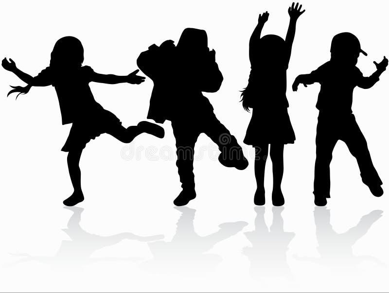 Silhuetas das crianças da dança ilustração royalty free