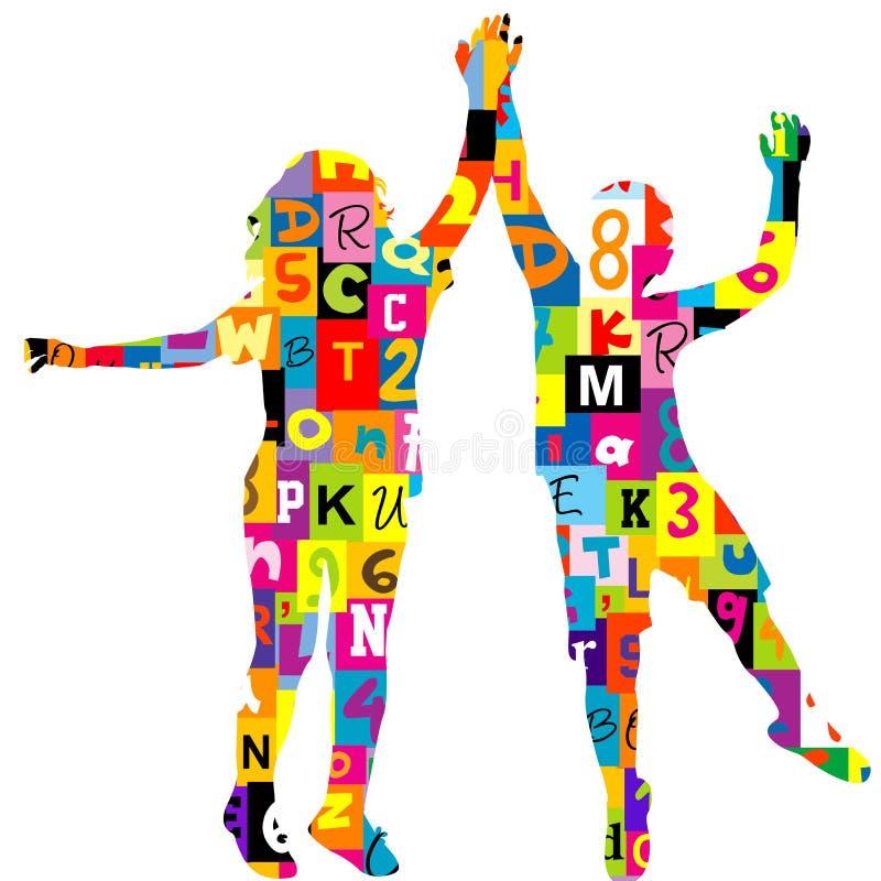 Silhuetas das crianças modeladas nas letras e nos números ilustração do vetor
