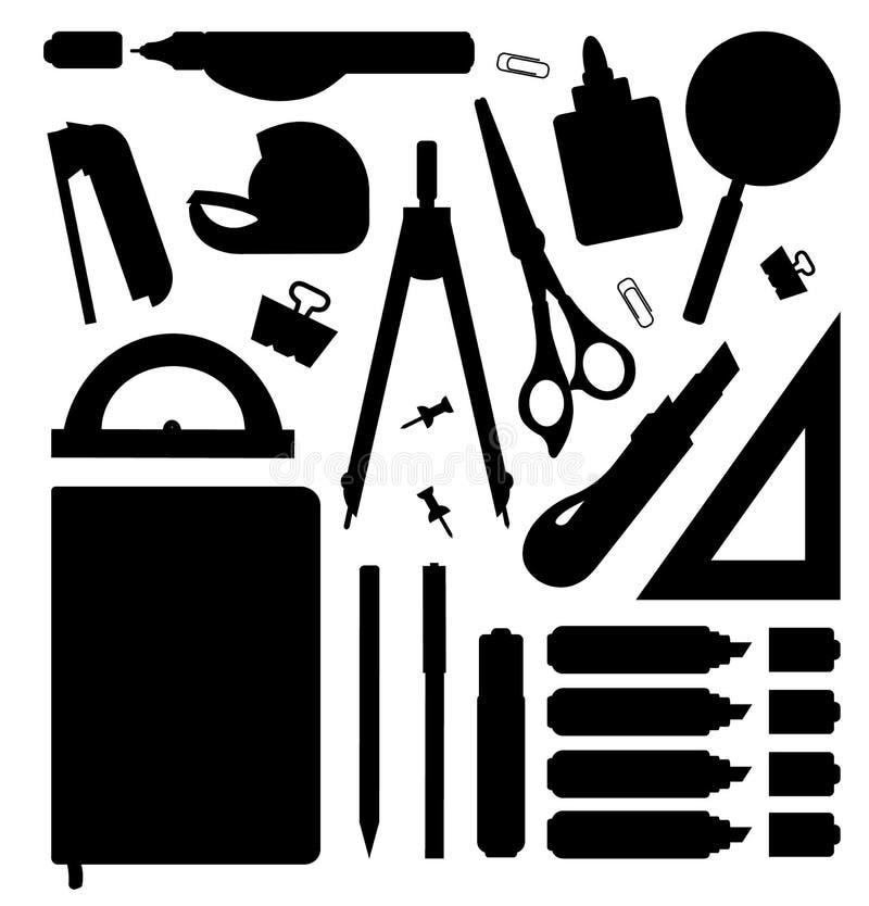 Silhuetas das ferramentas dos artigos de papelaria ajustadas ilustração do vetor