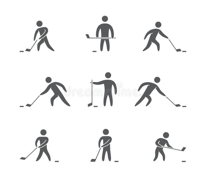 Silhuetas das figuras ícones do jogador de hóquei ajustados ilustração do vetor