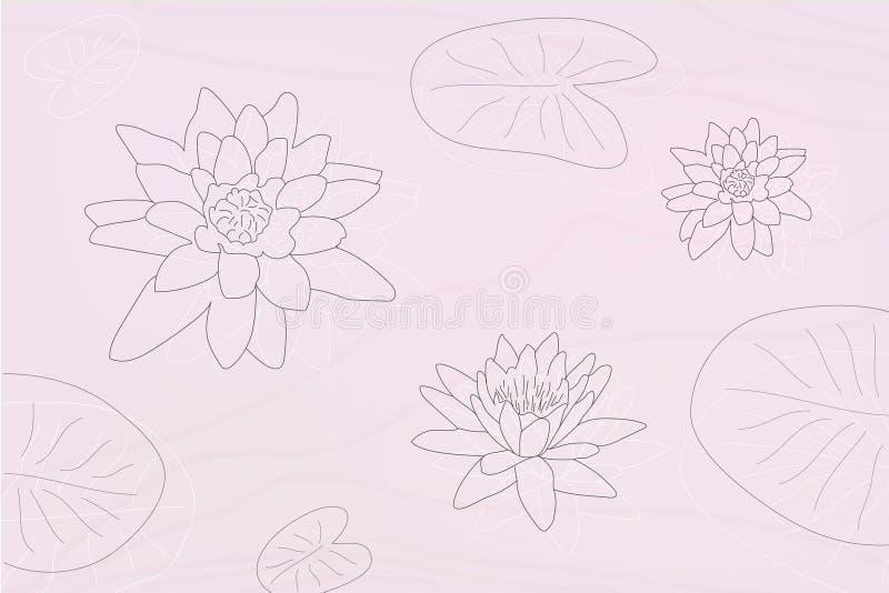 Silhuetas das flores de Lotus com as folhas no maner do grayscale ilustração do vetor