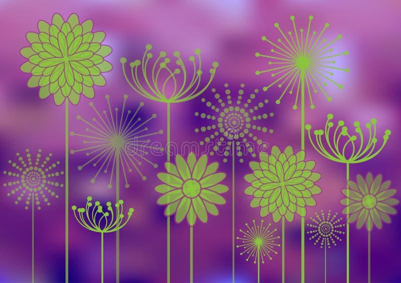 Silhuetas das flores no fundo do bokeh ilustração royalty free