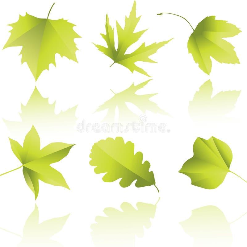 Silhuetas das folhas ilustração do vetor