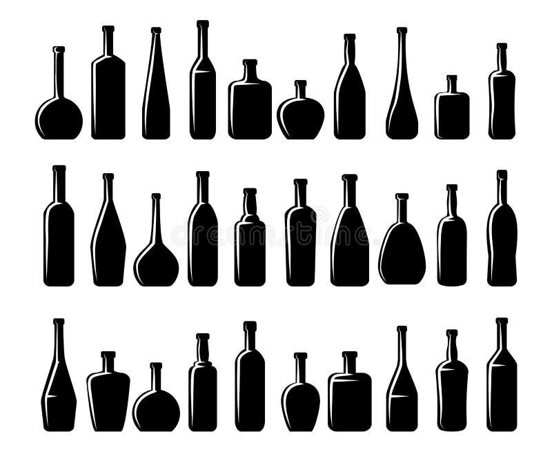 Silhuetas das garrafas do vinho e de cerveja ilustração stock