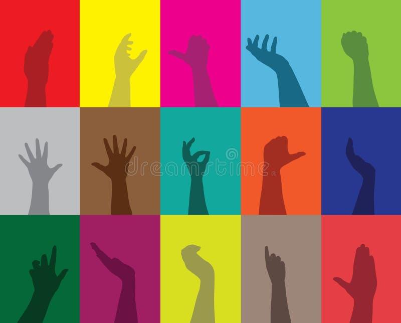 Silhuetas das mãos ilustração do vetor