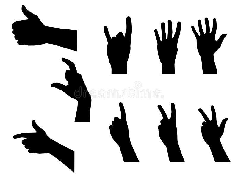 Silhuetas das mãos dos povos ajustadas ilustração royalty free