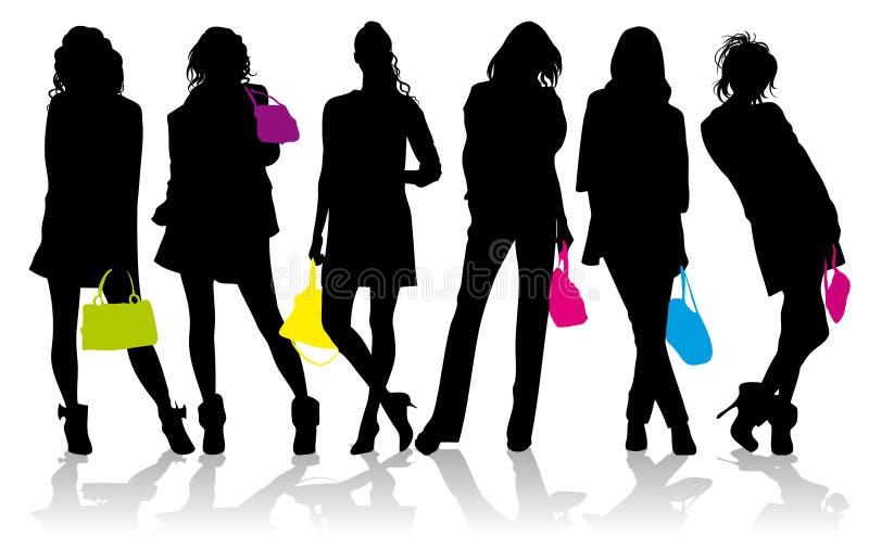 Silhuetas das meninas com bolsas coloridas ilustração royalty free