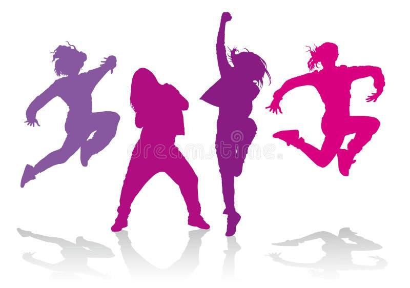 Silhuetas das meninas que dançam a dança do hip-hop