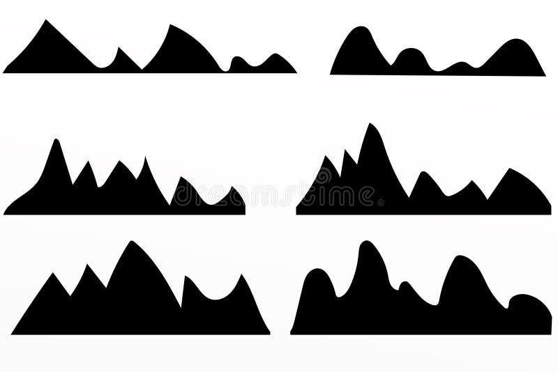 Silhuetas das montanhas no fundo branco ilustração stock