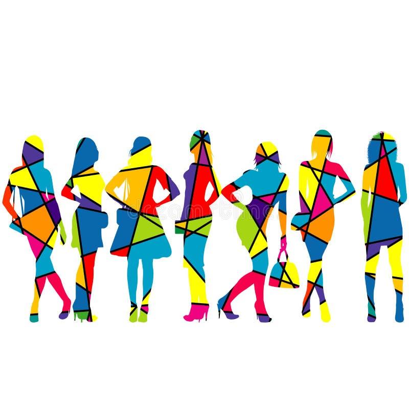 Silhuetas das mulheres modeladas no mosaico colorido ilustração stock