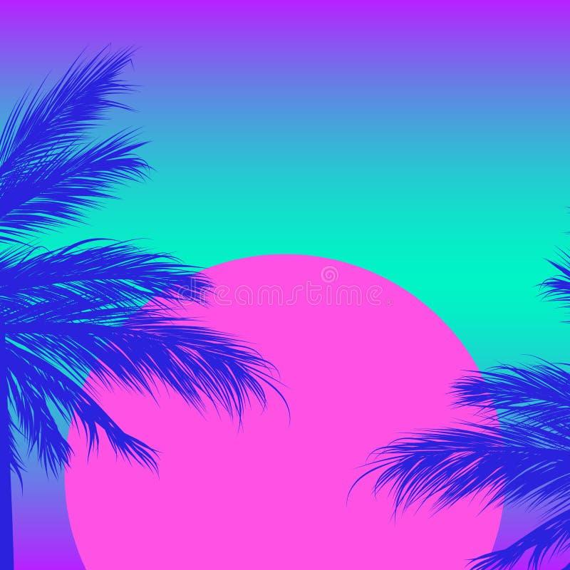 Silhuetas das palmeiras em um fundo do inclinação com sol cor-de-rosa Sintwave foto de stock royalty free