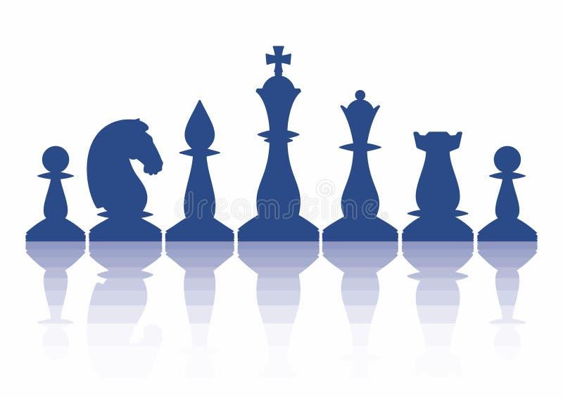 Silhuetas das partes de xadrez arranjadas em alguma ordem Ilustra??o do vetor isolada no branco ilustração do vetor