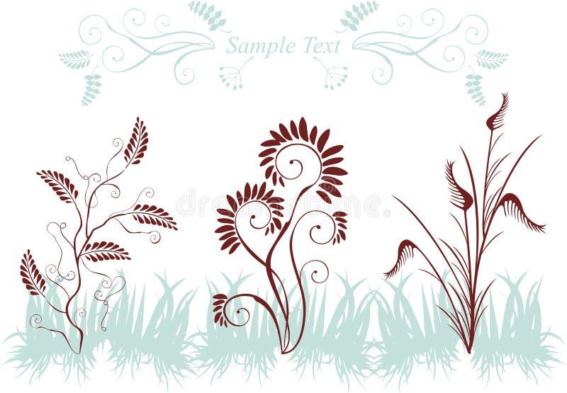Silhuetas das plantas ilustração royalty free