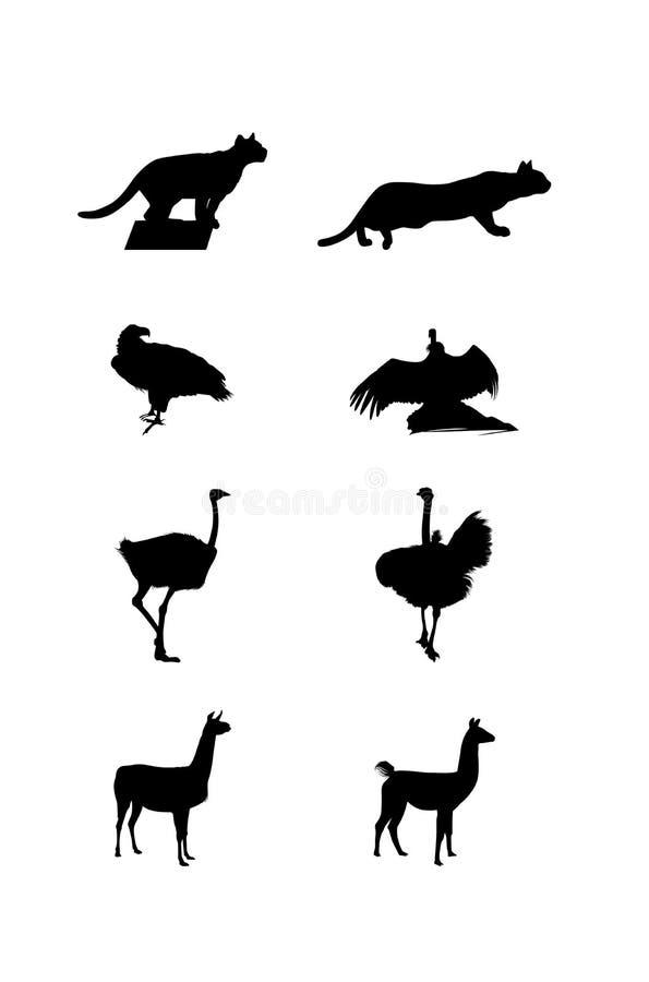 Silhuetas de animais de uma Ámérica do Sul ilustração stock