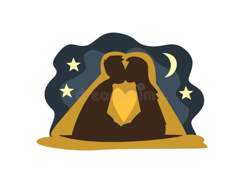 Silhuetas de beijar o homem e a mulher contra o contexto da lua e do céu estrelado, par romântico feliz na data, feliz ilustração do vetor