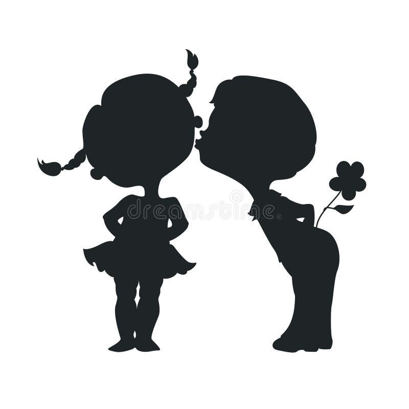 Silhuetas de beijar o menino e a menina ilustração do vetor