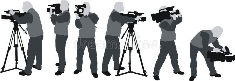 Silhuetas de Cameramans ilustração do vetor