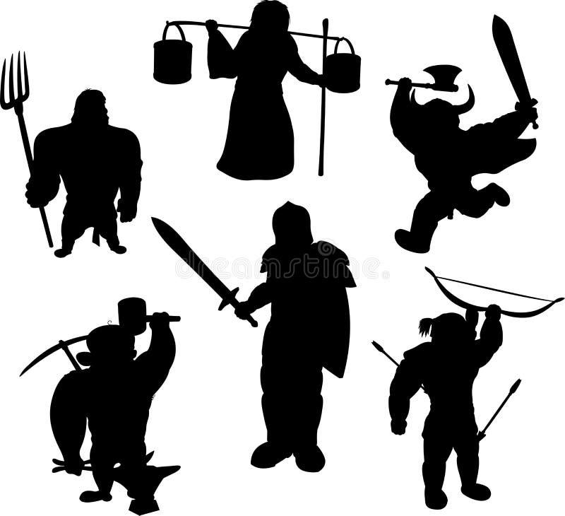 Silhuetas de caráteres masculinos medievais ilustração do vetor