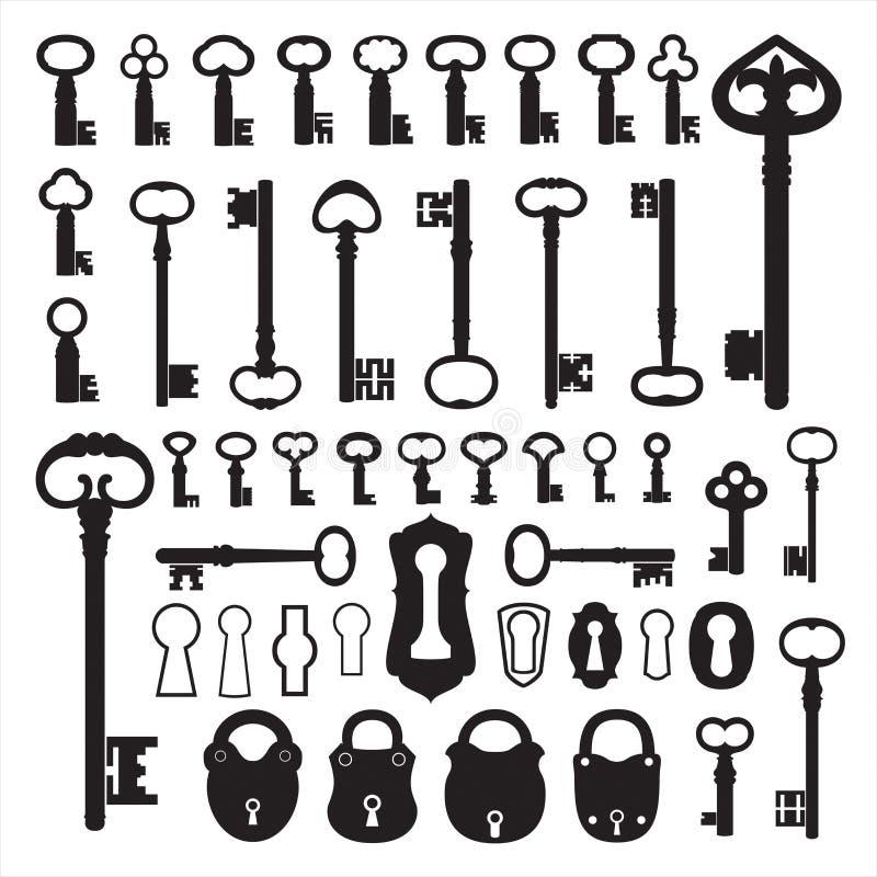 Silhuetas de chaves velhas ilustração stock