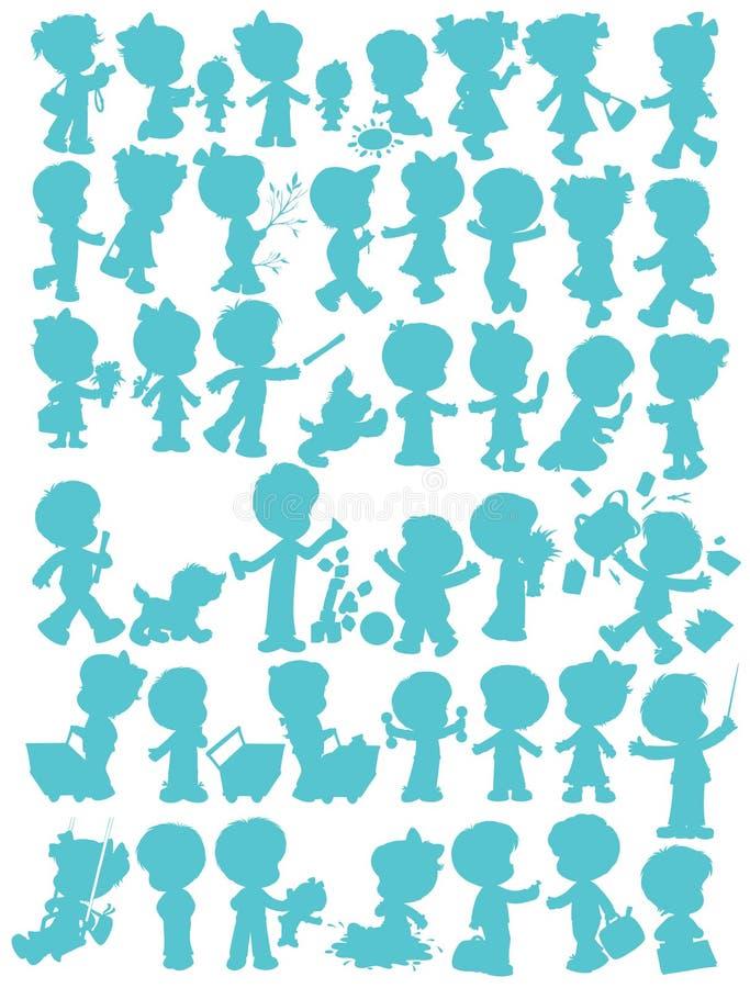 Silhuetas de Childrenâs ilustração stock
