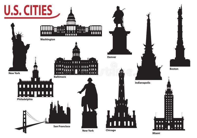 Silhuetas de cidades dos E.U. ilustração royalty free