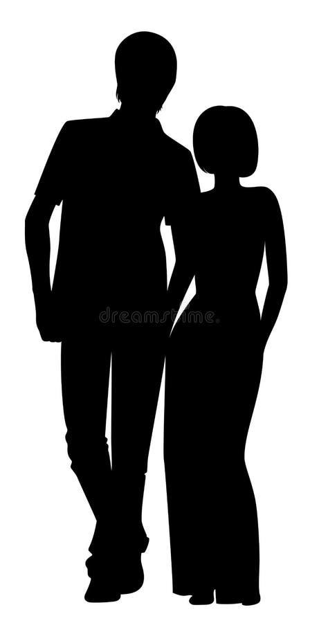 Silhuetas de dois amantes ilustração royalty free