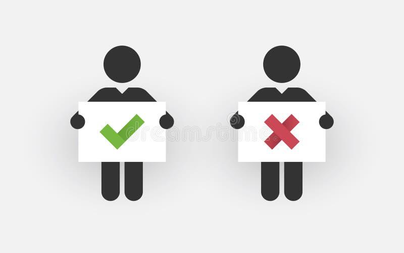 Silhuetas de dois homens com um direito e um erro do sinal ilustração stock