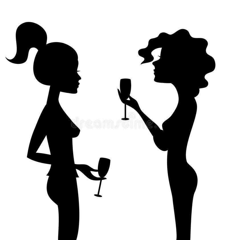 Silhuetas de duas mulheres de fala com vinho ilustração do vetor