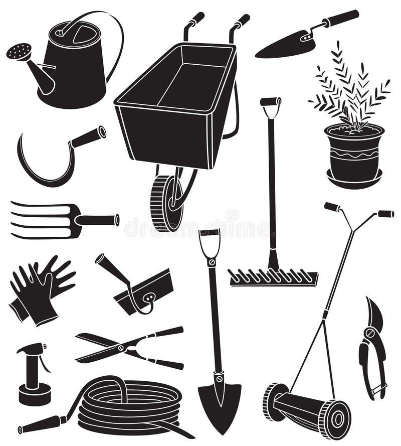 Silhuetas de ferramentas de jardinagem ilustração royalty free