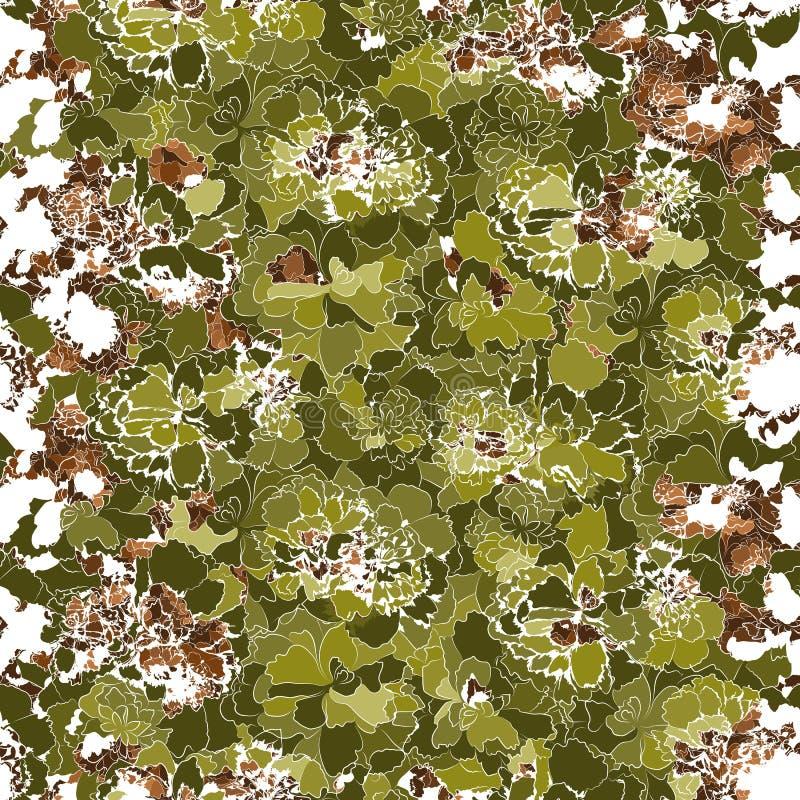 Silhuetas de flores verdes e marrons Contexto natural ornamentado ilustração royalty free