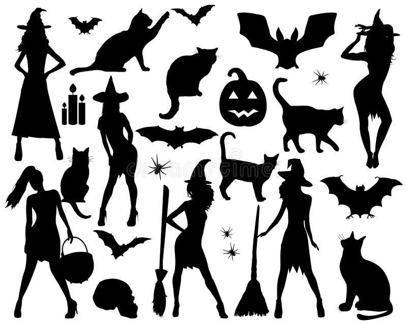 Silhuetas de Halloween Bruxa, abóbora, gato preto Partido de Halloween Etiqueta da aranha Truque ou deleite ilustração royalty free