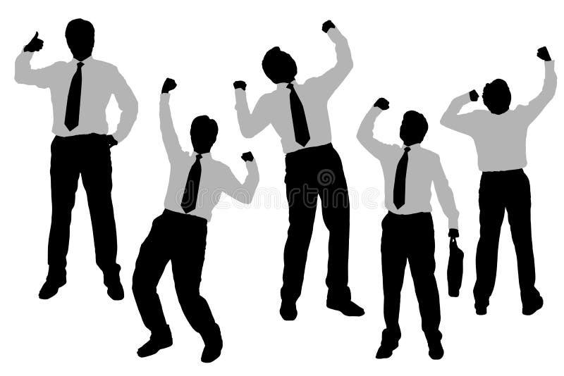 Silhuetas de homens de negócios felizes entusiasmado ilustração royalty free