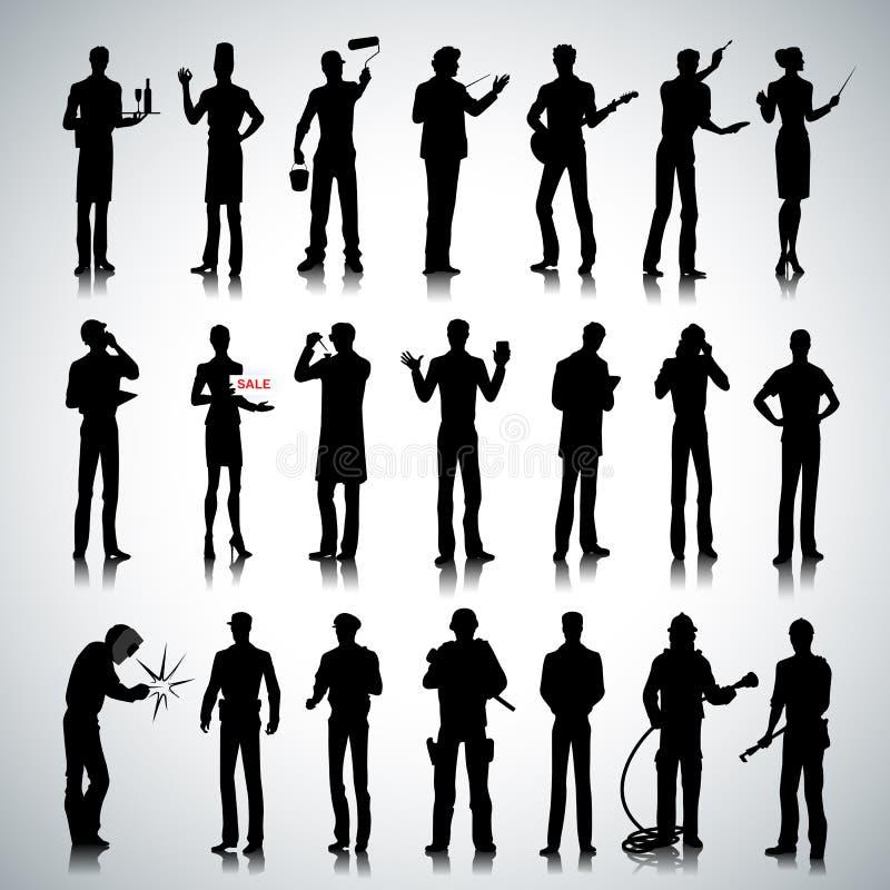 Silhuetas de homens diferentes das profissões ilustração stock