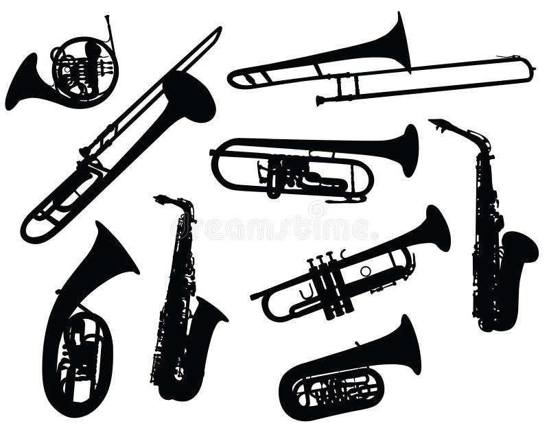 Silhuetas de instrumentos de vento ilustração do vetor
