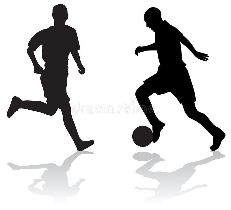 Silhuetas de jogadores de futebol ilustração stock
